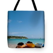 Kayaks On Beach Tote Bag