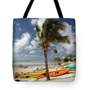 Kayaks On The Beach Tote Bag