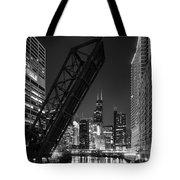 Kinzie Street Railroad Bridge At Night In Black And White Tote Bag