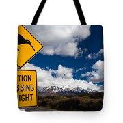 Kiwi Crossing Road Sign And Volcano Ruapehu Nz Tote Bag