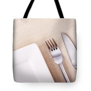 Knife Fork And Plate Tote Bag