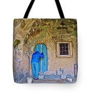 Knocking On A Blue Door Of Tufa Home In Goreme In Cappadocia-turkey  Tote Bag