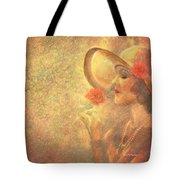 1-lady In The Flower Garden Tote Bag