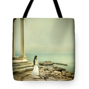 Lady In White By The Sea Tote Bag