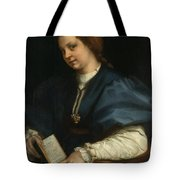 Lady With A Book Of Petrarch's Rhyme Tote Bag
