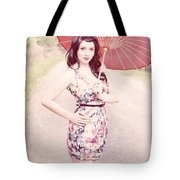 Lady With Red Parasol Tote Bag