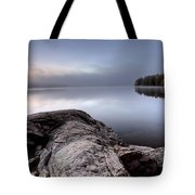 Lake In Autumn Sunrise Reflection Tote Bag