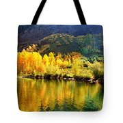 Lake Reflection In Fall  Tote Bag