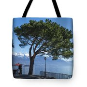 Lakeside With Trees Tote Bag
