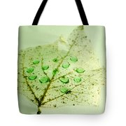 Leaf With Green Drops Tote Bag