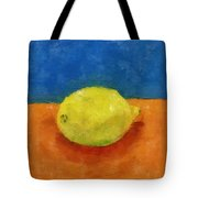 Lemon With Blue And Orange Tote Bag by Michelle Calkins