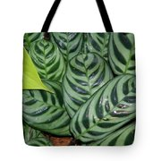 Light And Dark Green Leaves Tote Bag