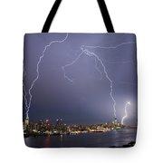 Lightening Over Manhattan Tote Bag