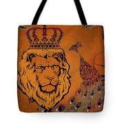Lion And The Peacock Tote Bag
