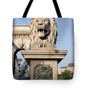 Lion Sculpture On Chain Bridge In Budapest Tote Bag