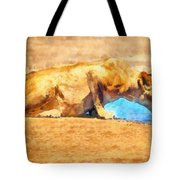 Lioness Drinking Tote Bag