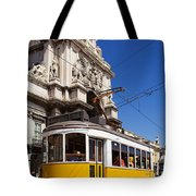 Lisbon's Typical Yellow Tram In Commerce Square Tote Bag
