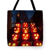 Lit Pumpkins With Demon On Halloween Tote Bag