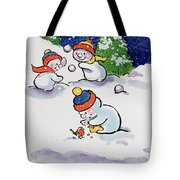 Little Snowmen Snowballing Tote Bag