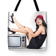Lovely Asian Pinup Girl Posing On Vintage Tv Set Tote Bag