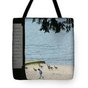 Luke Eighteen Sixteen To Seventeen Running With The Geese Tote Bag
