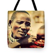 Maasai Baby Carried By His Mother In Tanzania Tote Bag