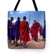 Maasai Men In Their Ritual Dance In Their Village In Tanzania Tote Bag