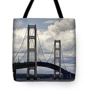 Mackinaw Bridge By The Straits Of Mackinac Tote Bag