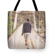 Man On Alexandra Suspension Bridge In Tasmania Tote Bag
