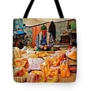 Man Peeling Squash In Antalya Street Market-turkey Tote Bag