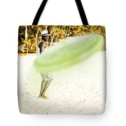 Man Playing Frisbee On Beach Tote Bag