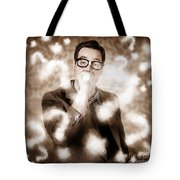 Man Problem Solving Question With Search Light Tote Bag
