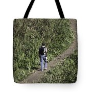 Man With A Canon Camera And Lens In Greenery Tote Bag