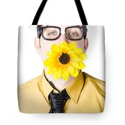 Man With Flower In Mouth Tote Bag