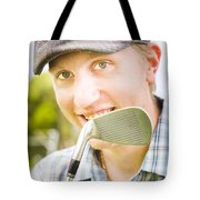 Man With Golf Club Tote Bag