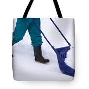 Manual Snow Removal With Snow Scoop After Blizzard Tote Bag