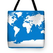 Map In Blue And White Tote Bag