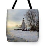 Marblehead Lighthouse Winter Sunrise Tote Bag