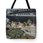 Marines Move Gear During An Embarkation Tote Bag by Stocktrek Images