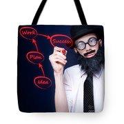 Marketing Business Man Drawing Success Diagram Tote Bag