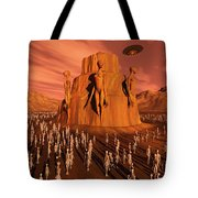 Martians Gathering Around A Monument Tote Bag