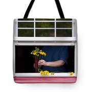 Mature Woman Cutting Flowers In Window Tote Bag