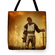 Medieval Knight On A Burning Battlefield Tote Bag