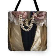 Medieval Or Tudor Woman Holding A Pearl Necklace Tote Bag