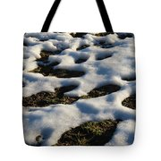Melting Snow On Lawn Tote Bag