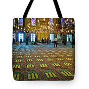 Men Inside The Blue Mosque In Istanbul-turkey Tote Bag