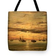 Mesdag's Sunset At Scheveningen -- A Fleet Of Shipping Vessels At Anchor Tote Bag