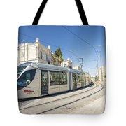 Modern Tram In Central Jerusalem Israel Tote Bag