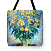 Monet's Jerusalem  Artichoke Flowers Tote Bag