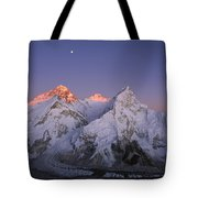 Moon Over Mount Everest Summit Tote Bag